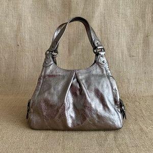 Coach Maggie Leather Shoulder Bag Silver Gunmetal